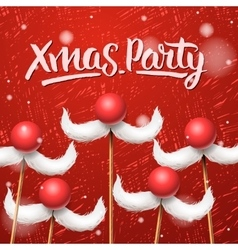 Christmas Party card Santa Claus moustache vector image