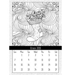 christmas sock with gifts calendar october 2018 vector image vector image