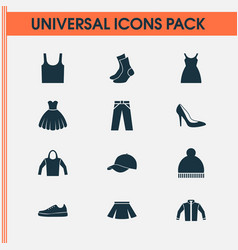Clothes icons set collection of trilby singlet vector
