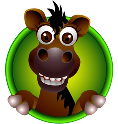 cute horse head cartoon vector image
