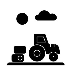 farm harvest tractor icon vector image