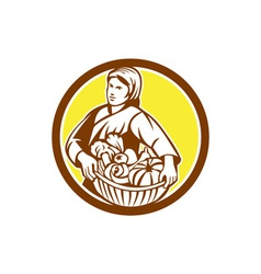 Female organic farmer basket harvest retro vector