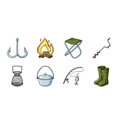 Fishing and rest icons in set collection for vector