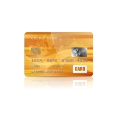 Gold credit card icon in realistic style vector image