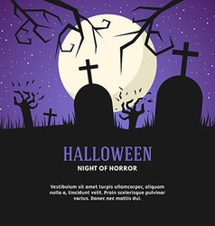 Halloween with grave zombies and the moon vector