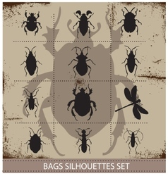 Insect and bags silhouettes sign black color vector image