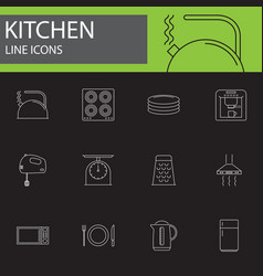 kitchen line icons set outline vector image