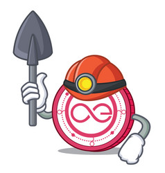 Miner aeternity coin mascot cartoon vector