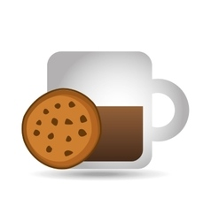 mug coffee cookie round bakery icon design graphic vector image