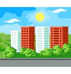 Multi-storey house landscape vector