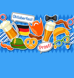 Oktoberfest seamless pattern with photo booth vector