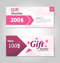 Pink and gold gift voucher template layout design vector image vector image
