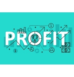 Profit concept flat line design with icons and vector image