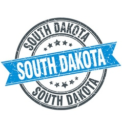 South dakota blue round grunge vintage ribbon vector