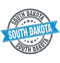 South Dakota blue round grunge vintage ribbon vector image