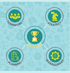success business concept with icons vector image vector image