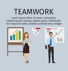 Teamwork infographic with business people vector