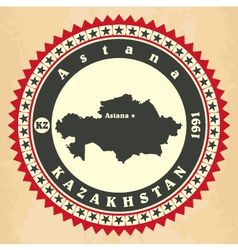 Vintage label-sticker cards of kazakhstan vector