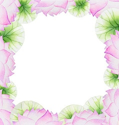 Watercolor floral frame with lotus vector image vector image