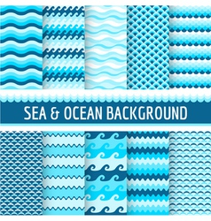 10 Seamless Nautical Backgrounds vector image