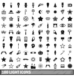 100 light icons set in simple style vector