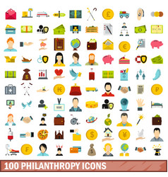 100 philanthropy icons set flat style vector