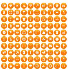 100 tennis icons set orange vector