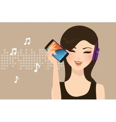 Woman girl female listening to music streaming vector