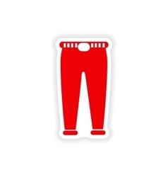 Stylish paper sticker on white background pants vector