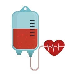 Bag blood donation heart pulse vector