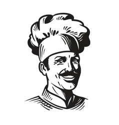 Portrait happy chef in hat and mustache Smiling vector image