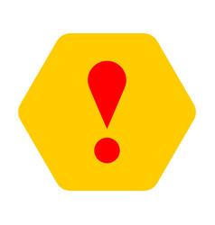 Yellow hexagon exclamation mark icon warning sign vector