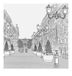 Avenue with vintage buildings vector