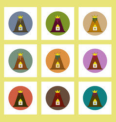 Flat icons set of volcano explosion and house vector