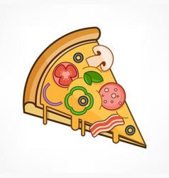 Pizza slice on white vector