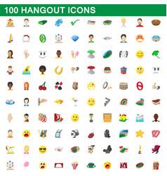 100 hangout icons set cartoon style vector