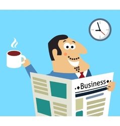 Business morning newspaper and coffee vector