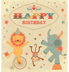 Birthday card with circus animals vector