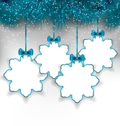 Set christmas paper snowflakes with copy space for vector