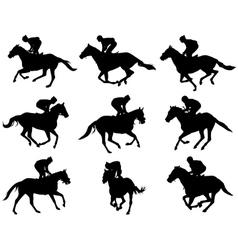 jockeys silhouettes vector image