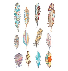 Feathers set with different patterns vector