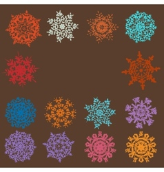 Cute retro snowflakes vector