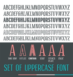 Set of uppercase narrow font vector
