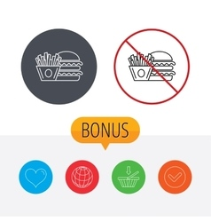 Burger and fries icon chips sandwich sign vector