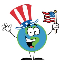 Globe Cartoon Characters with American Flag vector image