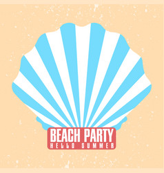 beach party poster template shell conch with vector image vector image