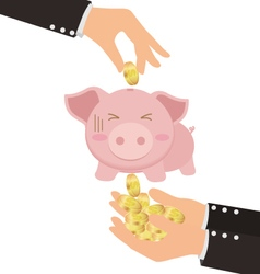 Business hand putting gold coin into cute piggy vector