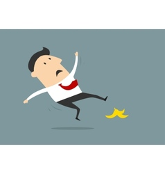 Businessman slipping on banana peel in flat style vector