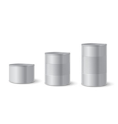 Canned metal packaging aluminum tin can for food vector