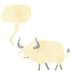 Cartoon annoyed hairy ox with speech bubble vector